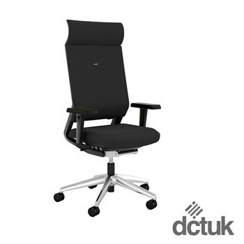 i-sit Upholstered Task Chair with Arms, Headrest + Polished Aluminium Base