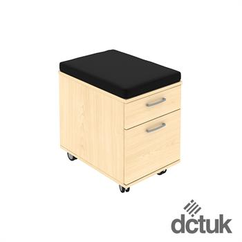 2 Drawer Low Mobile Pedestal with Seat Pad on Castors