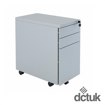 3 Drawer Narrow Steel Flat Fronted Mobile Pedestal