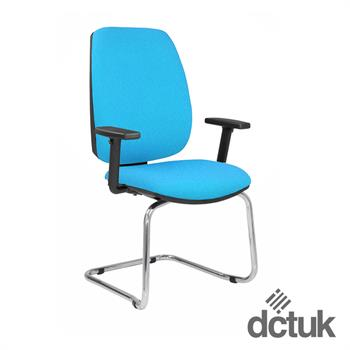 Loreto Upholstered Cantilever Chair with Arms + Chrome Frame