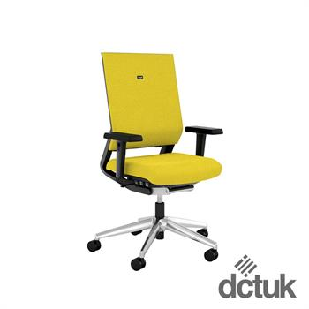 i-sit Upholstered Task Chair with Arms + Polished Aluminium Base