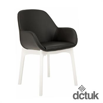 Norden Wood Leather Chairs with White Legs