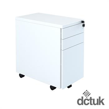 3 Drawer Narrow Steel Flat Fronted Mobile Pedestal in White