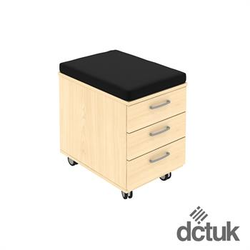 3 Drawer Low Mobile Pedestal with Seat Pad on Castors