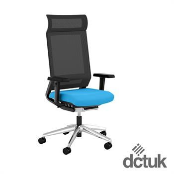 i-sit Mesh Task Chair with Arms, Polished Aluminium Base + Head Rest