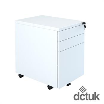 3 Drawer Steel Flat Fronted Mobile Pedestal White