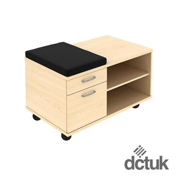 2 Drawer Mobile Under Desk Storage Unit with Seat Pad