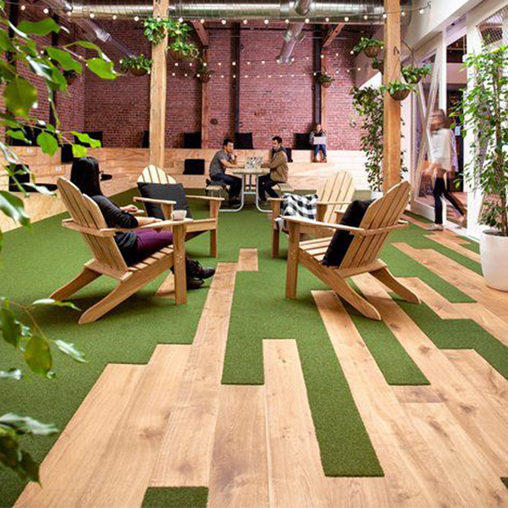 Office break out area using carpet planks and LVT