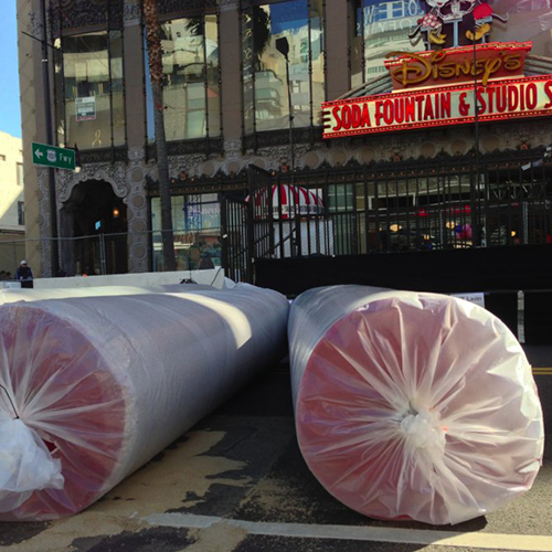 Oscars red carpet stored securely in rolls