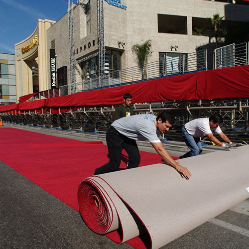 Oscars red carpet being rolled out on Hollywood boulevard
