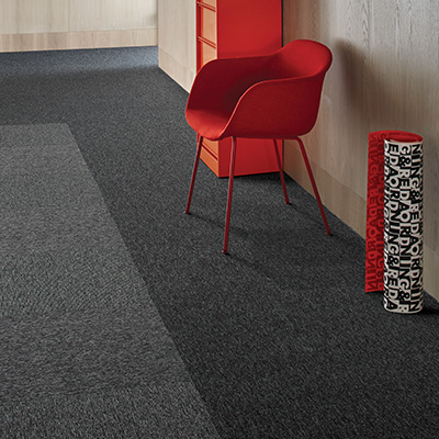 Interface Output Loop carpet tiles in a commercial space