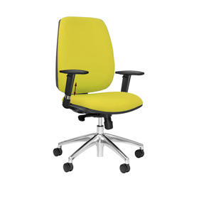 Loreto Upholstered Task Chair with Arms + Aluminium Base