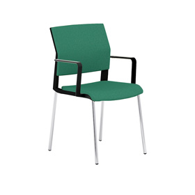 i-sit Upholstered 4 Legged Meeting Chair with Arms + Chrome Frame